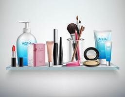 Immagine realistica dello scaffale degli accessori dei cosmetici di trucco