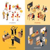 Set di icone isometriche 2x2 college e università