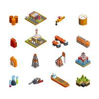 Set di icone isometriche di industria petrolifera