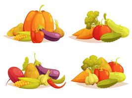 Composizioni di verdure Set di 4 icone quadrate vettore