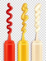 Set di bottiglia di salsa vettore