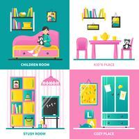 Concetto di design 2x2 della mobilia della stanza del bambino