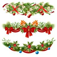 Set di decorazione di rami di bacche di Natale vettore