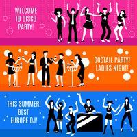 Set di banner festa in discoteca vettore