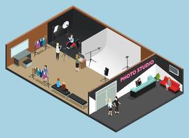 Photo Studio Interior Work Moment Isometric vettore