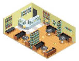 Illustrazione isometrica di biblioteca