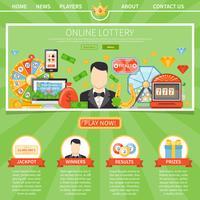 Lotteria e jackpot modello di una pagina vettore