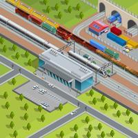 Poster isometrico stazione ferroviaria moderna ferroviaria