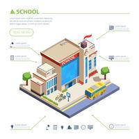 Illustrazione di disegno di edificio scolastico vettore