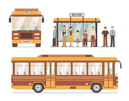 Icone piane della fermata dell'autobus della città vettore