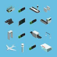 Set di icone isometriche aeroporto vettore