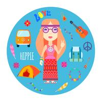 Illustrazione rotonda piana degli accessori del carattere di hippy