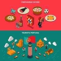 Set di banner isometrica del Portogallo