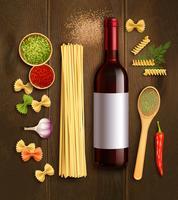 Poster di composizione realistica vino pasta secca