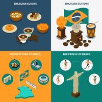 Set di icone del concetto di Brasile vettore