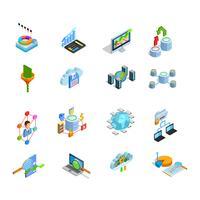 Set di icone isometriche di elementi di analisi dei dati