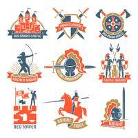 Loghi Emblemi Cavalieri Araldici vettore