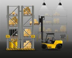 Composizione realistica del carrello elevatore