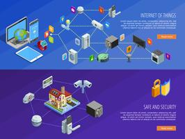 Internet Of Things 2 banner isometrici vettore