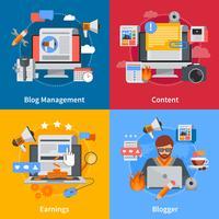 Set di icone di Blogging Flat 2x2