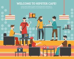 Illustrazione piana di vettore del caffè dei pantaloni a vita bassa