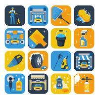 Set di icone piane di simboli di autolavaggio