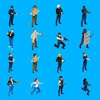 Icone isometriche della polizia