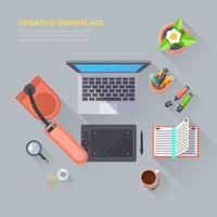 Illustrazione di vista superiore del posto di lavoro creativo vettore
