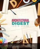 Illustrazione degli strumenti dell'architetto della costruzione vettore