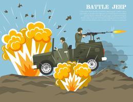 Poster piatto di ambiente di battaglia dell'esercito militare vettore