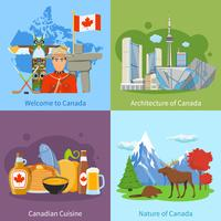 canada travel 4 icone piane quadrate vettore