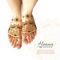 Mehndi Henna Woman Feet Realistic Design vettore