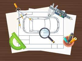 Manifesto dell'elemento di linea di produzione vettore