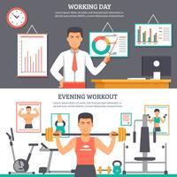 Set di banner di routine quotidiana dell'uomo