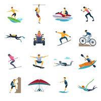 Collezione di icone piatte di attività sportive estreme