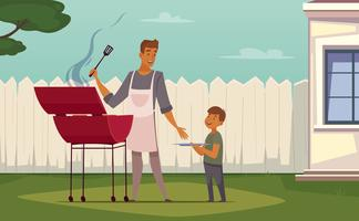 Picnic Barbecue Padre Figlio Cartoon Poster vettore