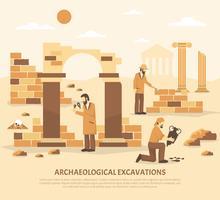 Illustrazione di scavo di archeologia