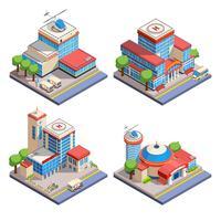Set di icone isometriche di ospedale vettore
