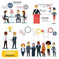 Insieme di Infographics di affari di partenariato e lavoro di squadra