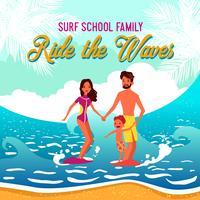 Illustrazione di vettore della scuola di surf