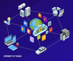 Banner isometrico di Internet Of Things Home vettore