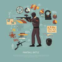 Illustrazione di battaglia di Paintball vettore