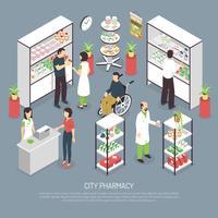 Poster di composizione isometrica interni di farmacia di città vettore