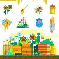 Set di icone di apiario vettore