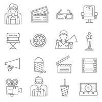 Set di icone del cinema linea nera