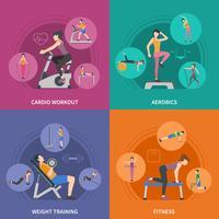 Set di icone di allenamento fitness palestra 2x2 vettore
