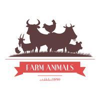 Etichetta di animali da fattoria o design di insegne