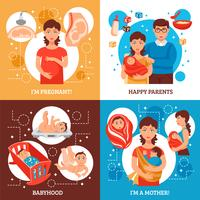 Set di icone di concetto di genitori vettore
