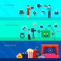 Bandiere piane di Filmmaking Movie Release 3 vettore