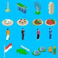 Icone isometriche di simboli di viaggio di Singapore messe